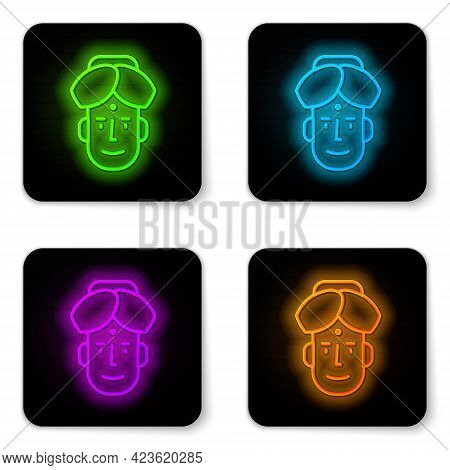 Glowing Neon Line Portrait Of Indian Man Icon Isolated On White Background. Hindu Men. Black Square
