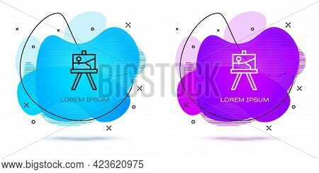 Line Wood Easel Or Painting Art Boards Icon Isolated On White Background. Abstract Banner With Liqui