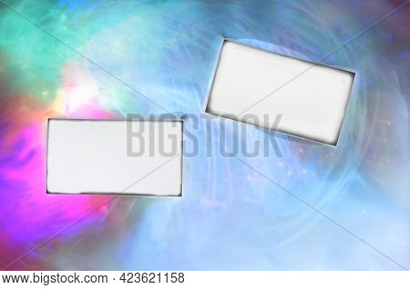 Blank White Business Cards With Wet Edges On A Bright Multicolored Abstract Background. Two Rectangu