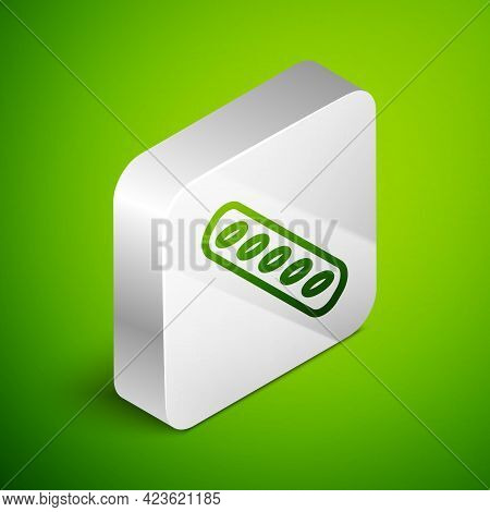 Isometric Line French Baguette Bread Icon Isolated On Green Background. Silver Square Button. Vector