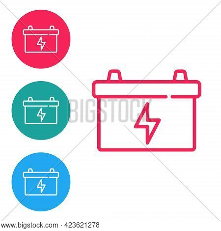 Red Line Car Battery Icon Isolated On White Background. Accumulator Battery Energy Power And Electri