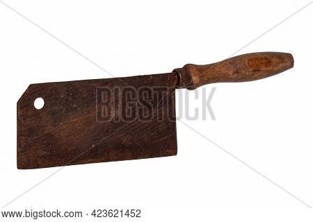 Macro Of A Rusty Old Butcher Cleaver With Wooden Handle Isolated On A White Background. Vintage Butc