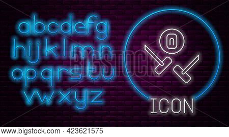 Glowing Neon Line Curling Sport Game Icon Isolated On Brick Wall Background. Sport Equipment. Neon L
