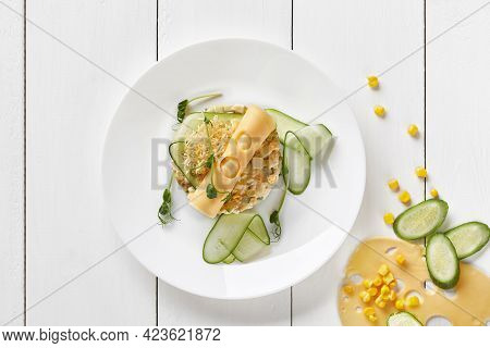 Salad With Cheese, Cucumbers And Corn With Mayonnaise
