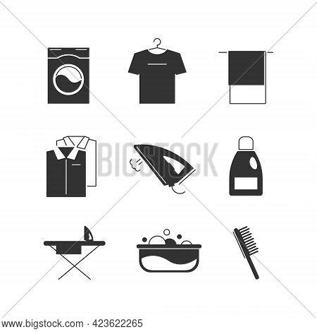 Laundry Icon Set Isolated On White Background. Washing Machine, Iron, Shirts, Bleach, Etc.