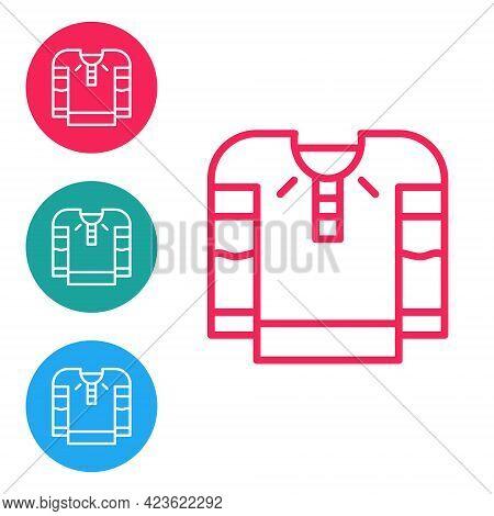 Red Line Embroidered Shirt Icon Isolated On White Background. National Ukrainian Clothing. Set Icons