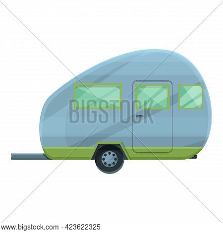 Camping Trailer Icon. Cartoon Of Camping Trailer Vector Icon For Web Design Isolated On White Backgr