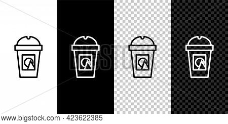 Set Line Coffee Cup To Go Icon Isolated On Black And White Background. Take Away Print. Vector