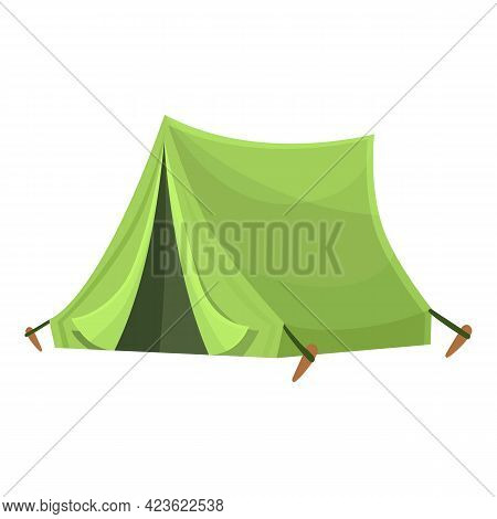 Green Tent Icon. Cartoon Of Green Tent Vector Icon For Web Design Isolated On White Background