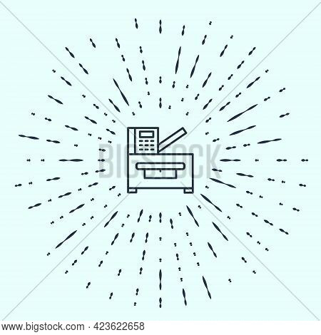 Black Line Office Multifunction Printer Copy Machine Icon Isolated On Grey Background. Abstract Circ