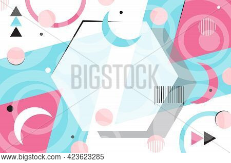 Memphis Style Poster. Abstract Geometric Background. Flat Design Banner For Advertising Sporting Goo