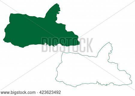 South Garo Hills District (meghalaya State, Republic Of India) Map Vector Illustration, Scribble Ske