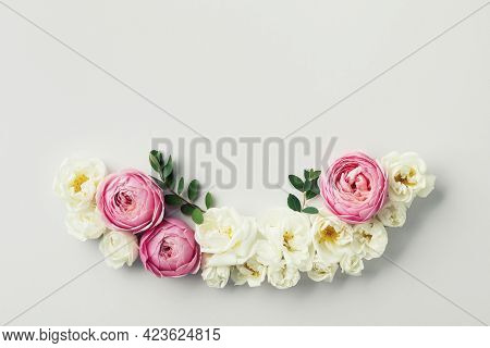 Beautiful Floral Arrangement With White And Pink Rose Flowers For Wedding Card. Top View And Flat La