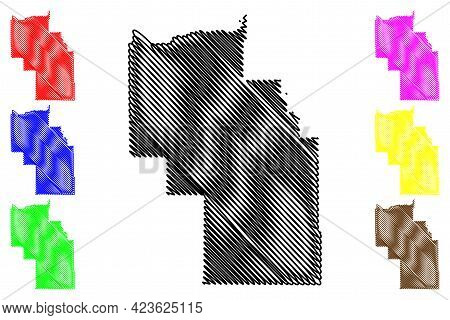 Columbia County, State Of Washington (u.s. County, United States Of America, Usa, U.s., Us) Map Vect