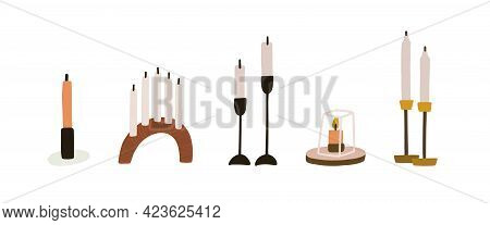 Set Of Modern Wax Candles With Metal And Wooden Candlesticks, Holders, And Pedestals. Home Decor For