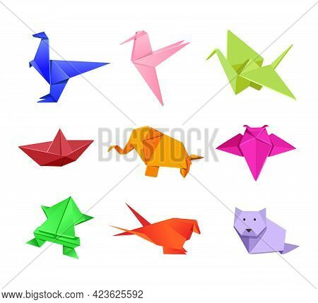 Origami Japanese Animal Illustrations Set In Cartoon Style. Cute Paper Animals. Dinosaur, Humming Bi