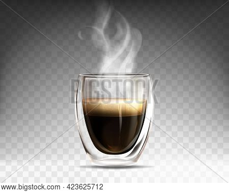 Realistic Glass Cup Filled Hot Steaming Coffee. Mug With Double Wall Full Of Aroma Americano. Espres