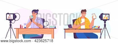 Flat Characters Making Internet Content Or Creating Video For Vlog Channel. Woman Vlogger Showing Co
