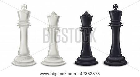 König und Königin Schach Stücke digitale illustration