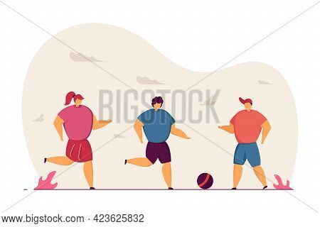 Children Playing Ball Game Outside Together. Cartoon Kids Kicking Ball, Football Flat Vector Illustr