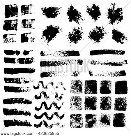 Grungy Texture Set, Brush Stroke Elements, Hand Drawn Waves, Square, Smears, Imprint On White Backgr