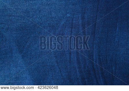 Textured Striped Blue Jeans. Canvas Denim Texture. Blue Denim That Can Be Used As Background. Blue J