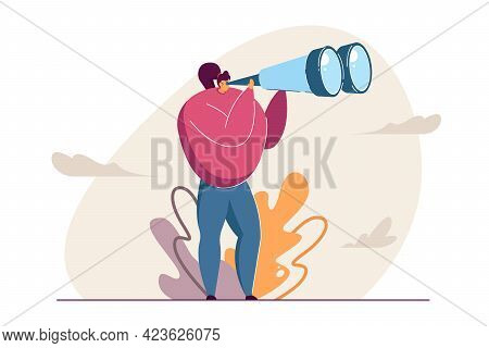 Girl Looking Through Binocular Far Ahead Vector Illustration. Woman Standing And Seeing Sights From