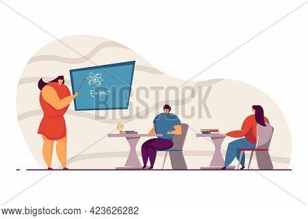 Students In Classroom At School. Female Physics Teacher Explaining Formula To Children Flat Vector I
