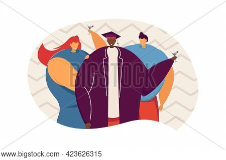 Friends Celebrating Graduation And Drinking Cocktails. Young Man In Graduation Hat Flat Vector Illus