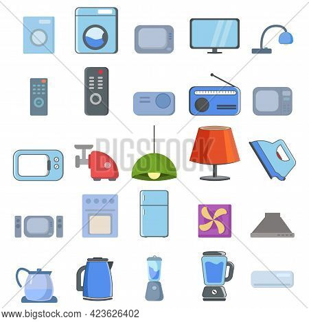 Household Appliances Vector Clip Art Set With Long Shadow With Tv, Fridge, Kitchen Appliances
