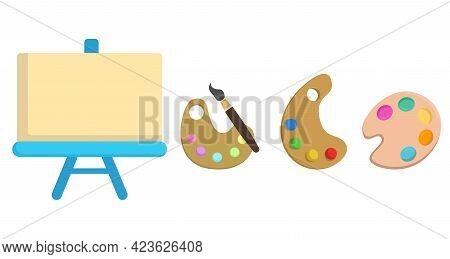Art Supplies: Easel With Canvas, Brushes, Watercolor, Palette, Painting Kit Vector Clip Art Set