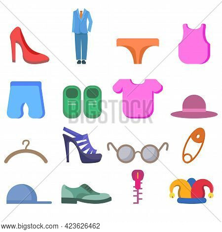 Clothing Vector Clip Art Set With Dress, Shoes, Fashion Elements, Woman Heel