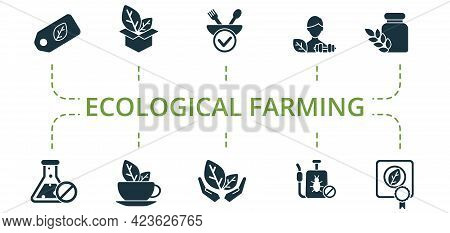 Ecological Farming Icon Set. Contains Editable Icons Organic Farming Theme Such As Organic Products,