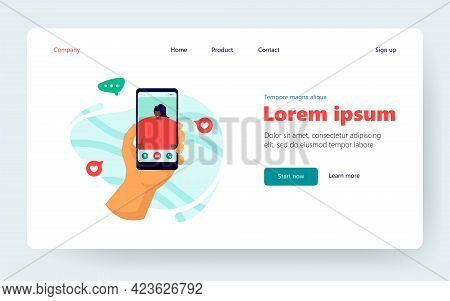 Hand Of Person Using Mobile Phone For Video Call, Talking To Girl Friend. User Holding Cellphone Wit