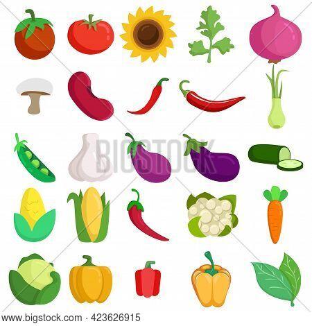 Vegetables Vector Clip Art Set Cucumber, Garlic, Bay Leaves, Eggplant, Green Peas, Bell Pepper, Chil