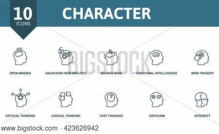 Character Icon Set. Contains Editable Icons Personality Theme Such As Open-minded, Shared Mind, Mind