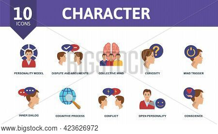 Character Icon Set. Contains Editable Icons Personality Theme Such As Personality Model, Collective
