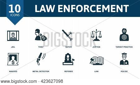 Law Enforcement Icon Set. Contains Editable Icons Police Theme Such As Jail, Baton, Target Practice
