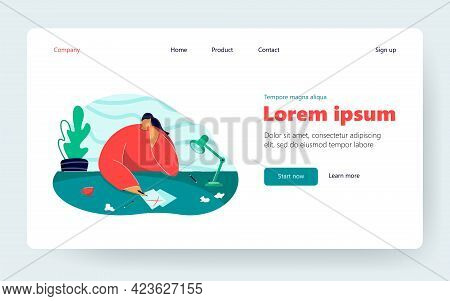 Young Woman Thinking Of Work. Female With Clean Sheet Of Paper On Table, Workplace Flat Vector Illus
