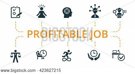 Profitable Job Icon Set. Contains Editable Icons Productive Work Theme Such As Mental Concentration,