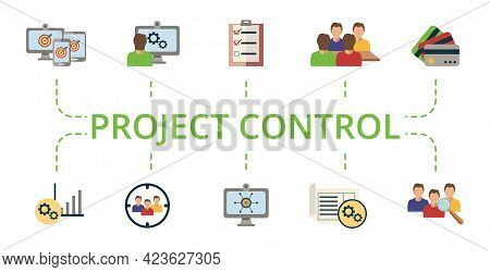 Project Control Icon Set. Contains Editable Icons Project Management Theme Such As User Testing, Dig