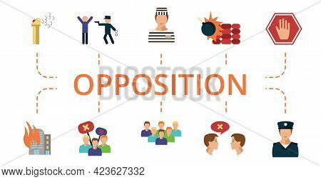 Opposition Icon Set. Contains Editable Icons Protest Theme Such As Arrested, Arson, Police And More.