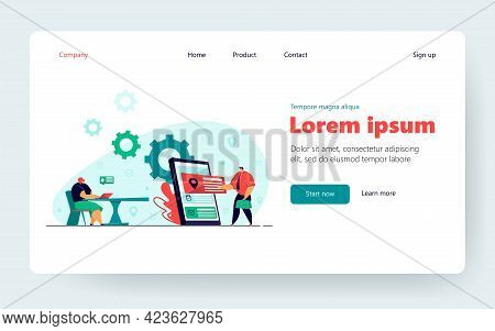 Appointment App Vector Illustration. Business People Using Online Calendar For Booking, Consulting P
