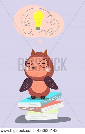 Cute Owl Taking A Break After Too Much Reading.  Owl Wearing Glasses. Owl Sitting. Vector Illustrati