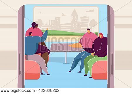 People Chatting In Train Car. Cartoon Men And Women On Trip Together, Silhouette Of City In Window F