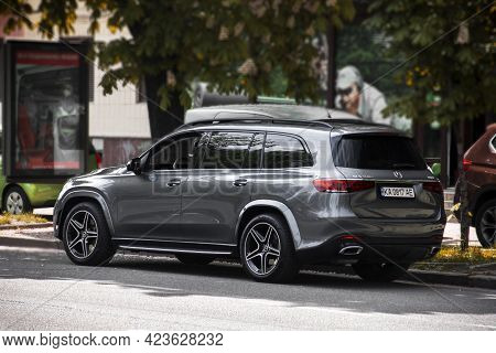 Kiev, Ukraine - May 22, 2021: Luxury Suv Mercedes Gls 400d 4matic Parked In The City