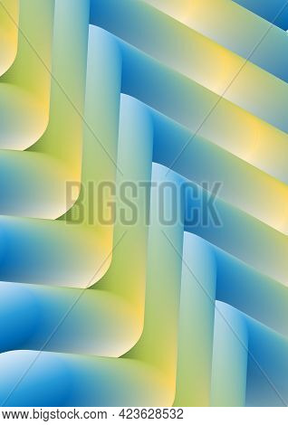 Abstract Image Of Translucent Pipes Made With Yellow-blue Gradient.3d.