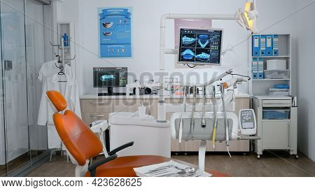 Empty Modern Orthodontist Stomatology Hospital Bright Office With Nobody In It Equipped With Tooth I