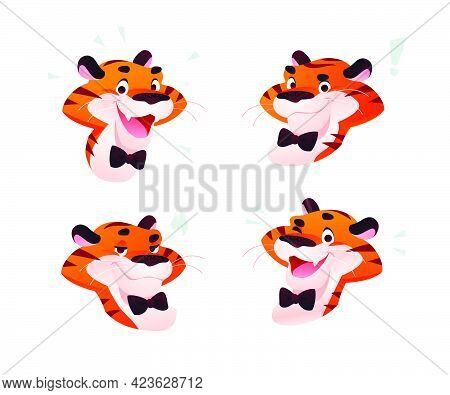 Vector Collection Of Tiger Character Portraits, Smile And Happy, Greeting, Wink, Pleased Isolated. C