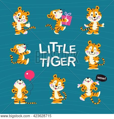 Set Of Cute Little Tiger Characters With Gift Box, Air Balloon, Celebrate, Jump, Stand, Smile Isolat